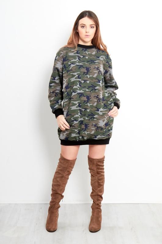 Camo Print Oversized Sweatshirt Dress