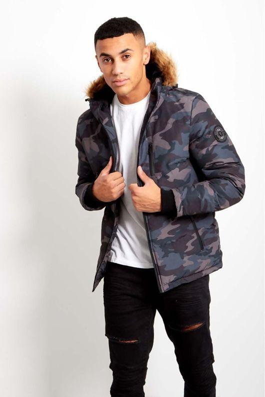 Black Camo Mens Fur Hood Parka Coat