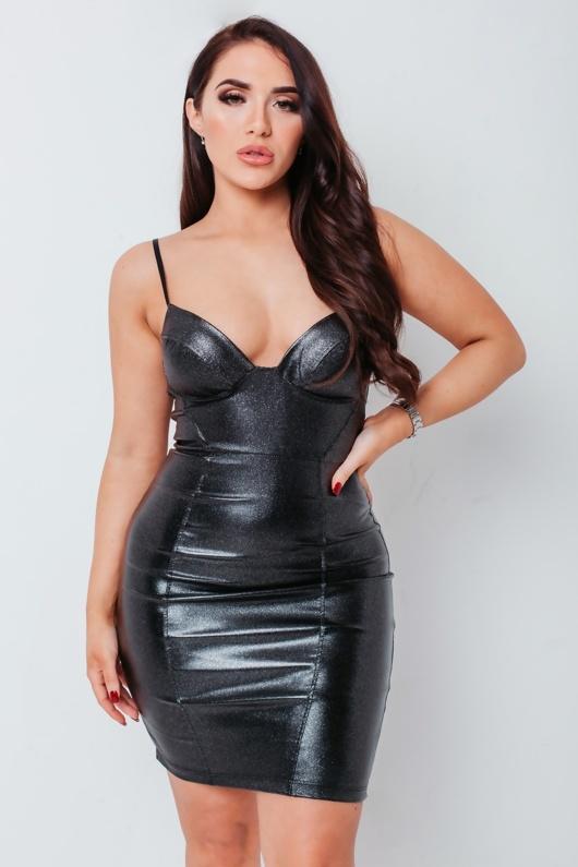 Chloe Brockett Black PU Glitter Bralet Bodycon Mini Dress