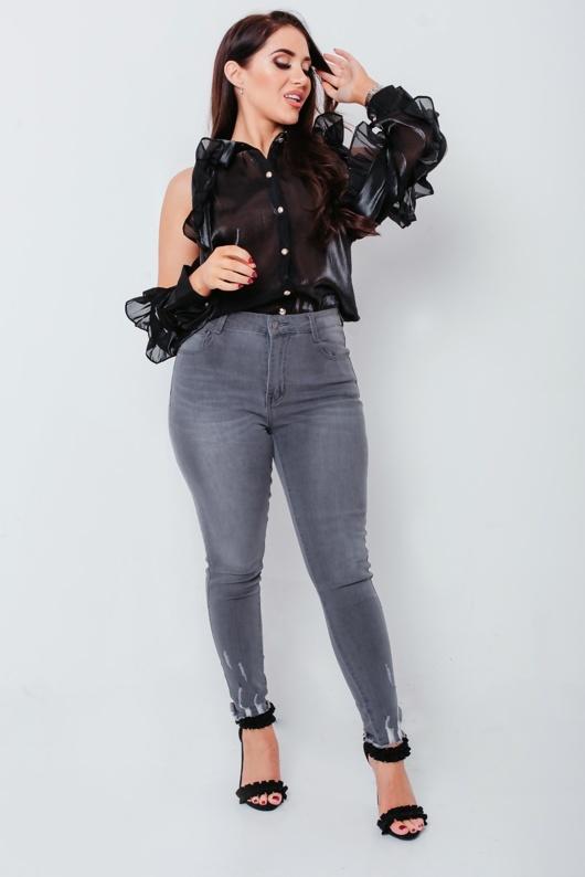 Chloe Brockett Black Organza Ruffle Zip Sleeve Detail Shirt