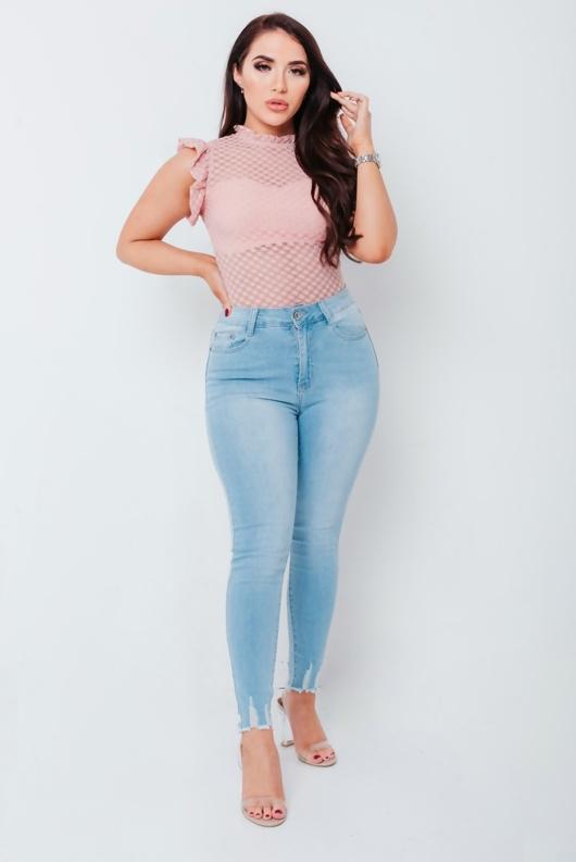 Chloe Brockett Light Wash Raw Hem Denim Skinny Jeans