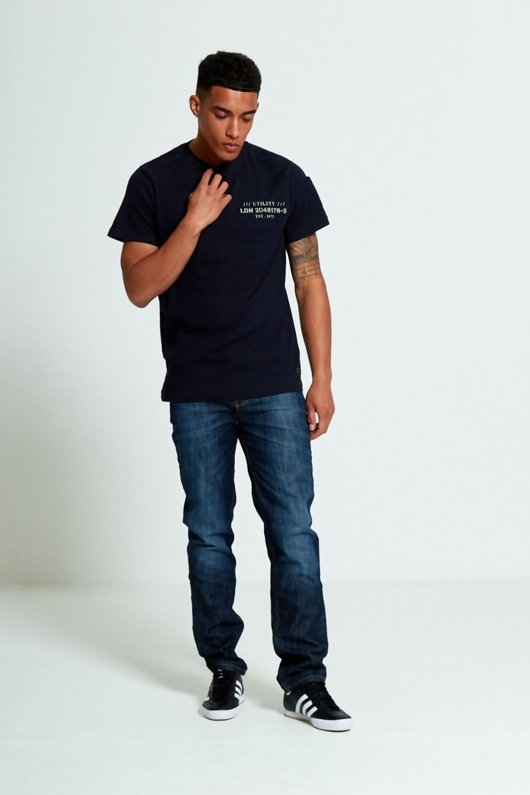 Mens Navy Textured T-Shirt