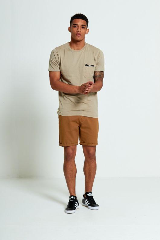 Beige Zip Pocket T-Shirt
