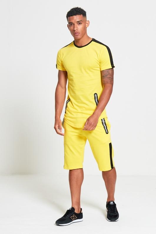 Mens Yellow Dip Hem Black Panel T-shirt And Shorts Set