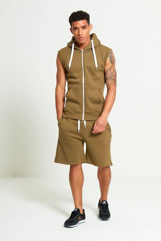 Khaki Sleeveless Hooded Short Set