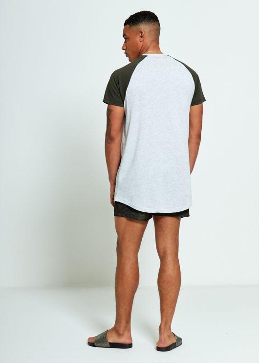 Green Longline Raglan Half Sleeve T-Shirt