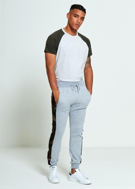 Mens Grey Skinny Fit Camo Stripe Joggers
