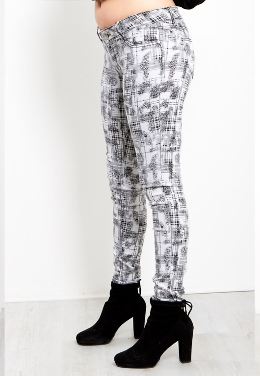 White Check Skinny Jeans For Womens