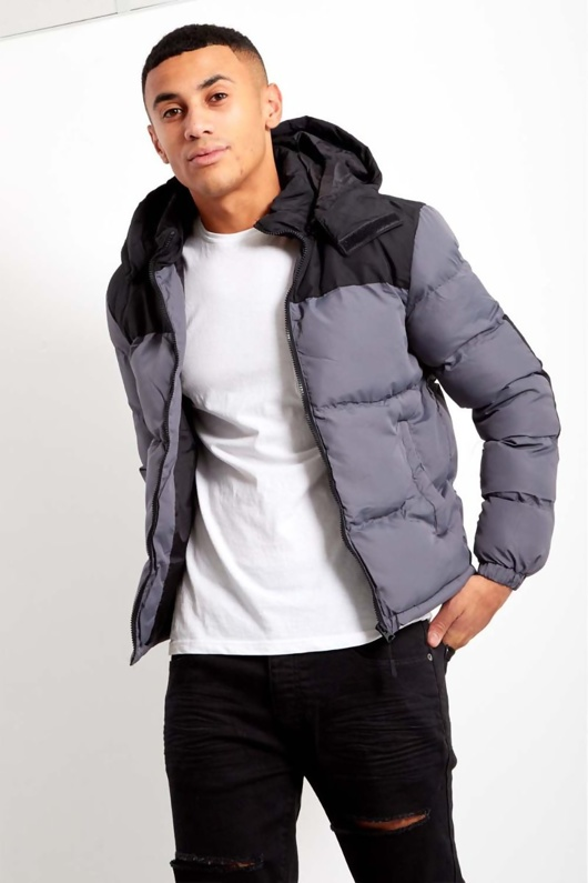 Mens GreyContrast Zip Up Hood Jacket