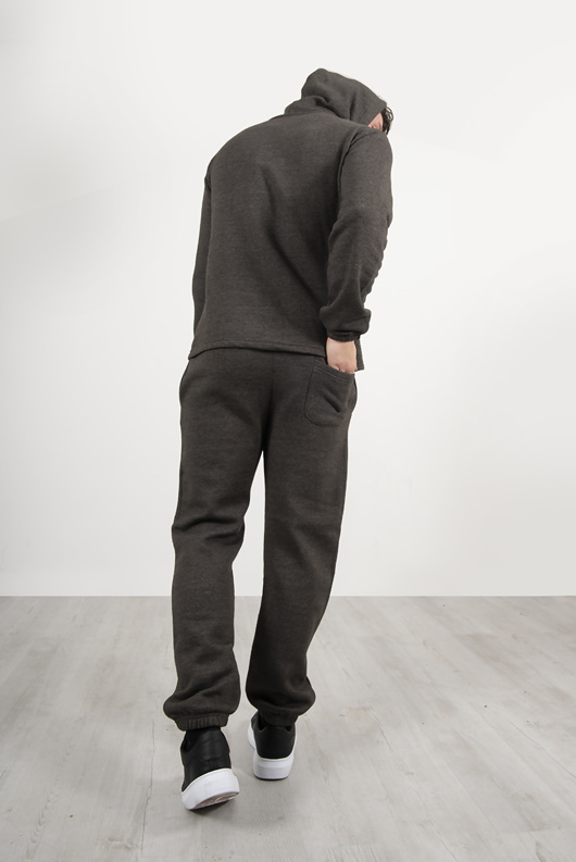 Mens Charcoal Pullover Hooded Tracksuit