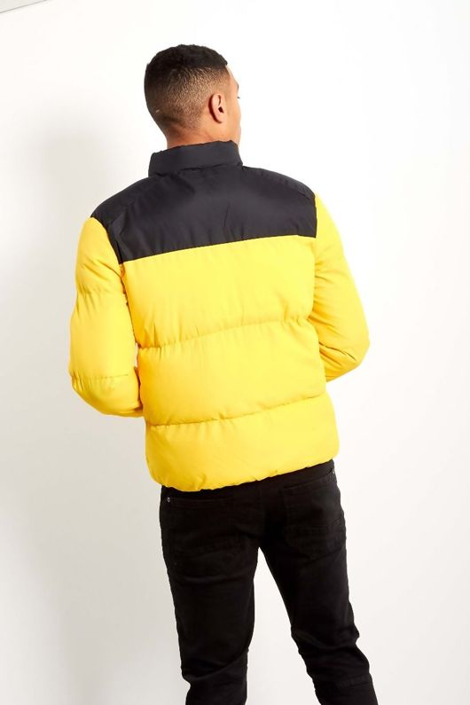 Mens Contrast Panel Padded Jacket