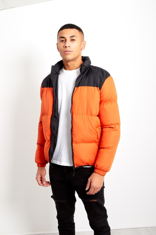 Orange Mens Contrast Panel Padded Jacket