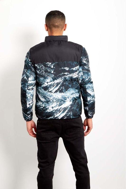 Mens Black Davis-Print Padded Zip Up Jacket