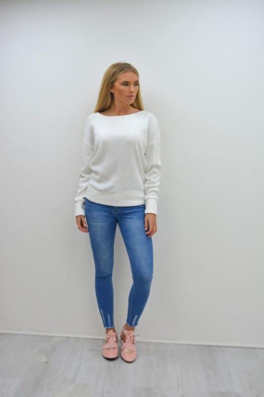 Blue Mid Rise Hem Skinny Fit Jeans