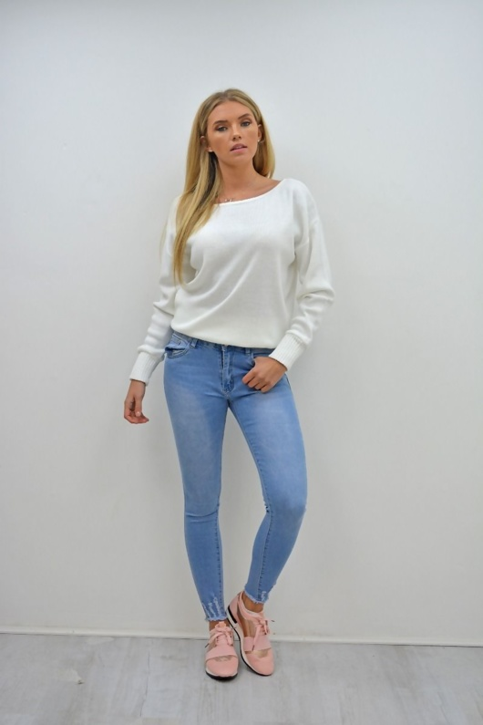 Light Denim Hem Skinny Fit Jeans