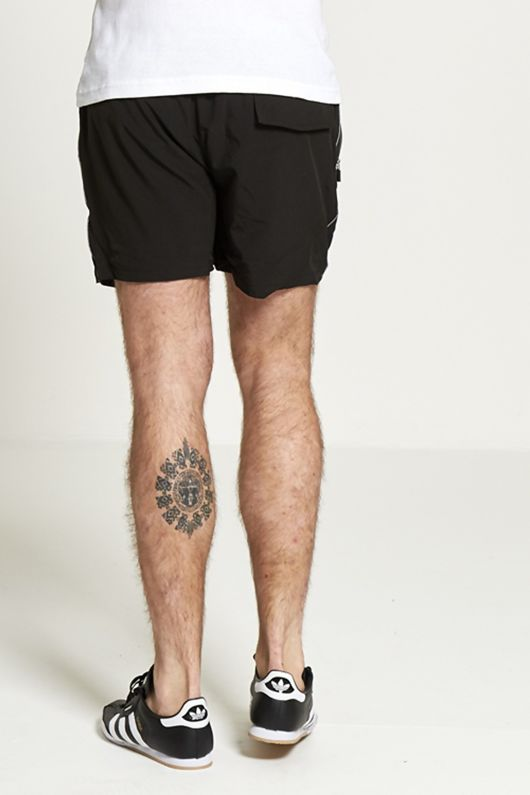 mens zip detail black athletic swim shorts