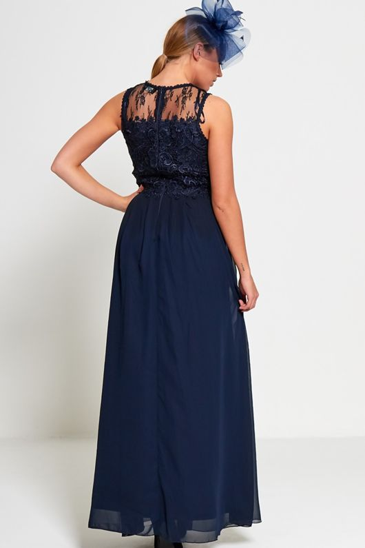 Navy Occasion Crochet Maxi Dress