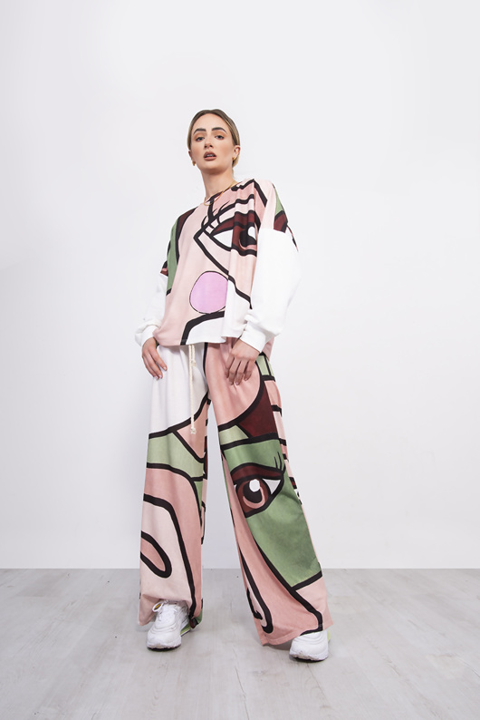 Face Printed Slouchy Wide Leg Lounge Set