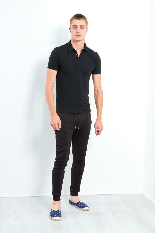 Mens Black Slim Fit Polo Shirt