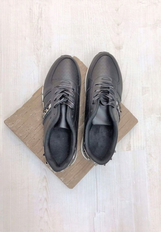 Black Stud Ribbon Lace Up Trainers