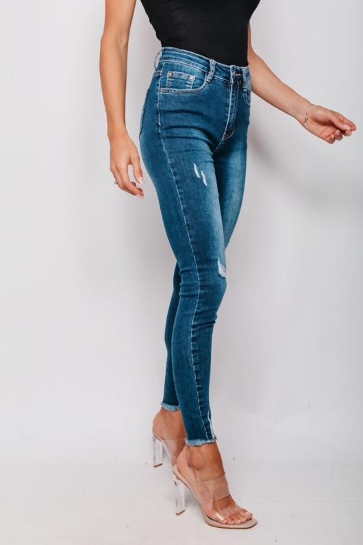 Frayed Hem Distressed Skinny Denim Jeans