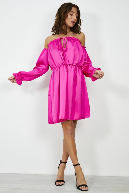 Fuchsia Satin Tie Front Frill Bardot Dress