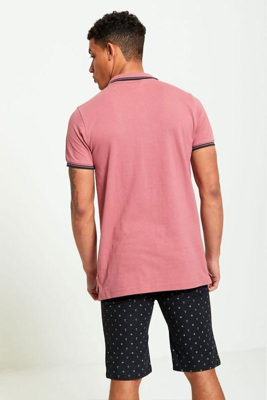 Mens Black Anchor Print Chino Shorts-Copy