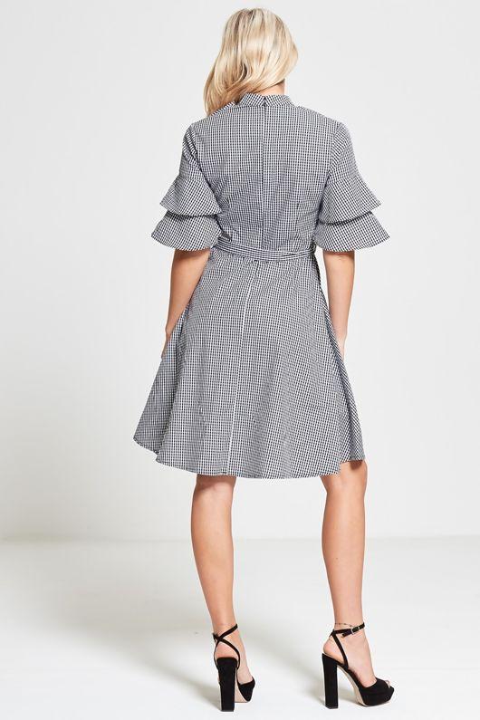 Black Gingham Check Dress