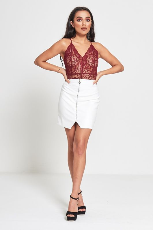 White Leather Look Zip Detail Mini Skirt