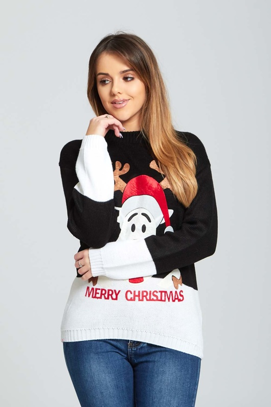 Black Reindeer Crew Neck Christmas Jumper