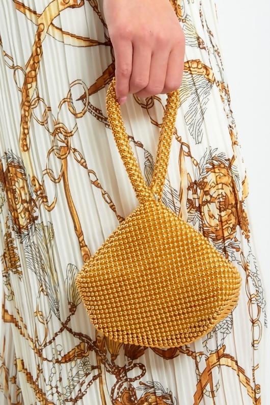 Gold Embellished Wristlet Evening Clutch