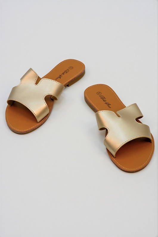 Gold Leather Open Toe Cutout Strap Sliders
