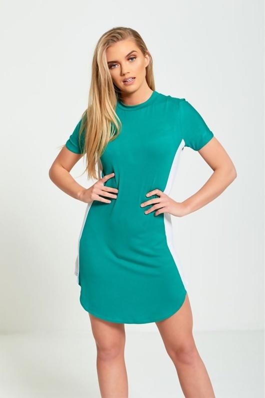 Green Bodycon White Panel Mini Dress