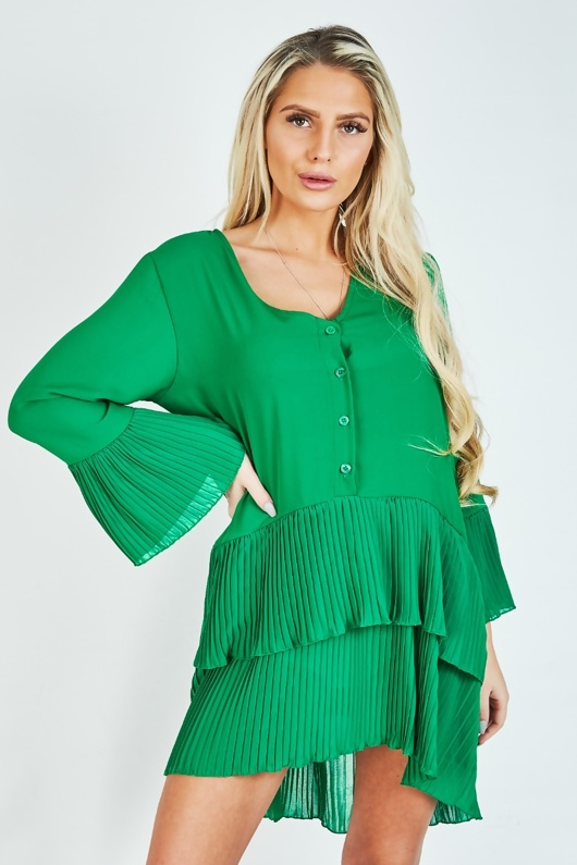 Green Ruffle Pleated Smock Mini Dress