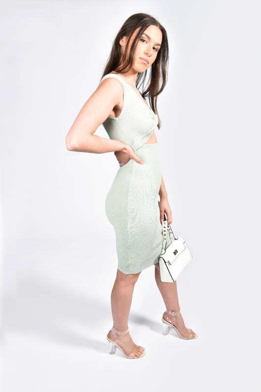 Sage Ribbed Twist Front Cut Out  Bodycon Dress