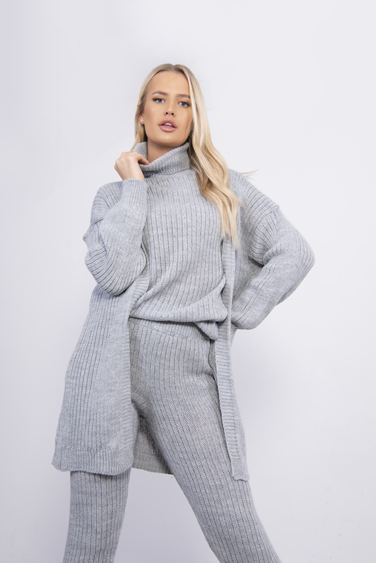 Grey 3 Piece Knitted Roll Neck Lounge Set