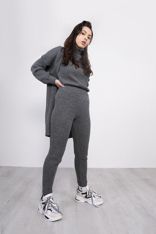 Dark Grey 3 Piece Knitted Roll Neck Lounge Set