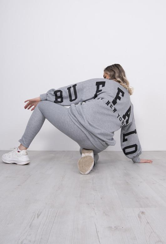 Grey Buffalo Slogan Jumper And Jogger Set