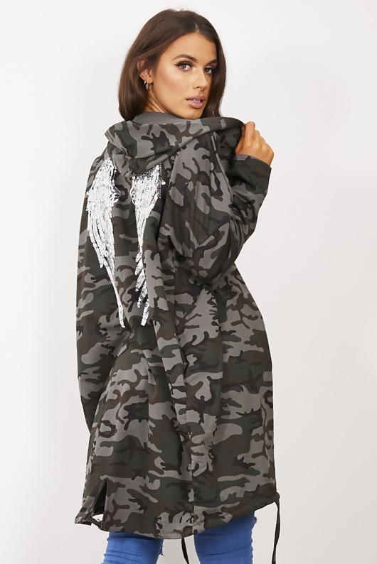 Grey Camo Sequin Angel Wings Hooded Cardigan