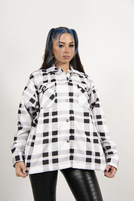 White And Black Chunky Checked Shacket