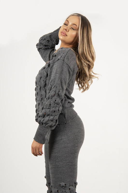 Grey Knitted Bubble Lounge Set