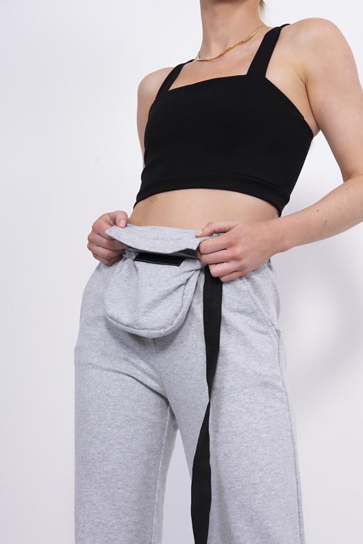 Grey Belt Bag Detail Joggers