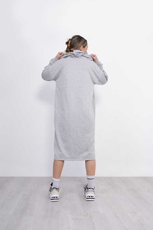 Light Grey Hooded Jumper Dress