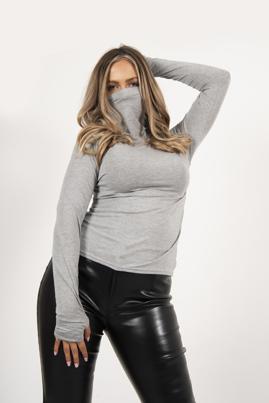 Grey jersey long sleeve mask top