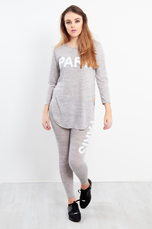 Grey Paris Slogan Loungewear