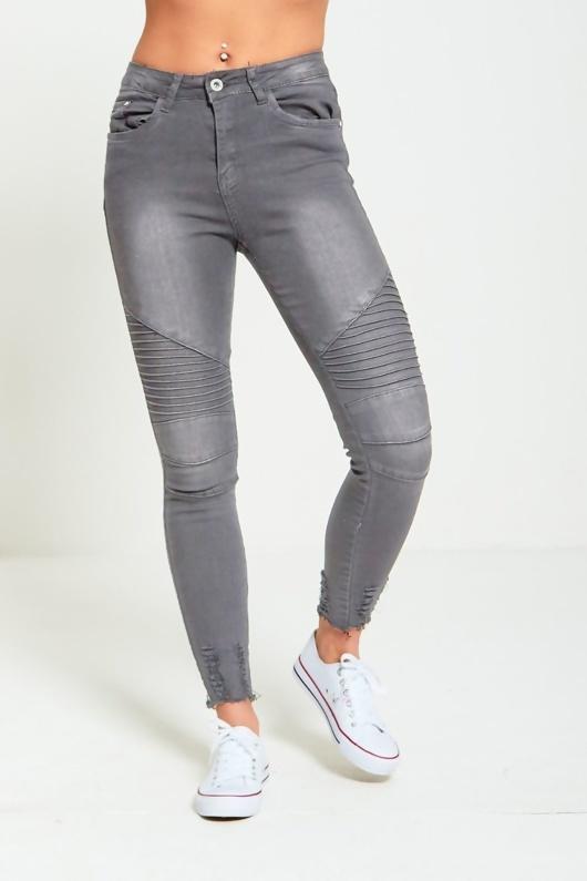 Grey Ribbed Skinny Biker Jeans