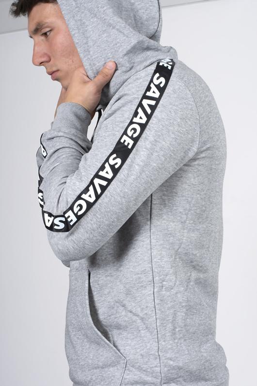 Mens Grey Savage Tape Detail Hooded Skinny Tracksuit