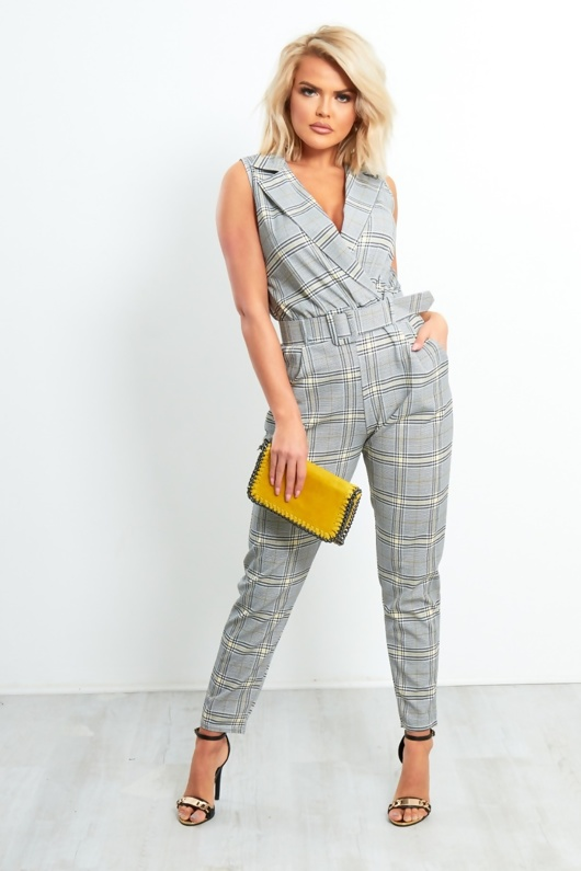 Grey Tartan Belted Tailored Jumpsuit