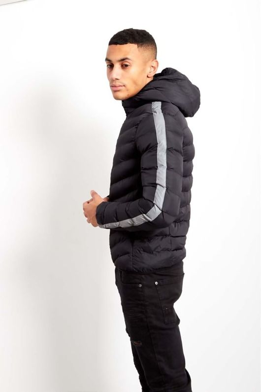 Mens Black Hooded Grey Reflector Stripe Padded Jacket