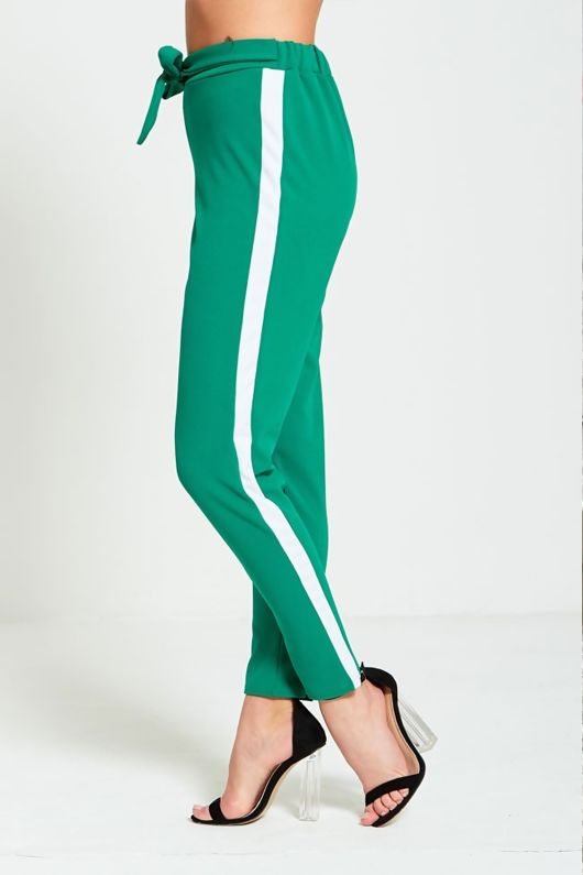 Green Tapered White Panel Trousers